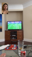 Chris letting me watch the Euro cup final on his TV (via FaceTime)